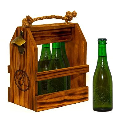 caja de madera artesanal con abridor y 6 cervezas