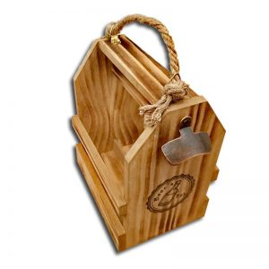 caja de madera con asa de cuerda para 6 cervezas vacia