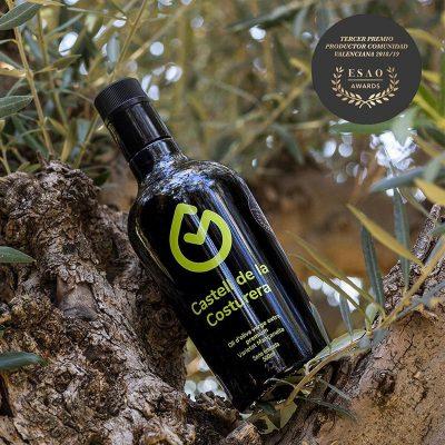 botella aceite en rama de olivo